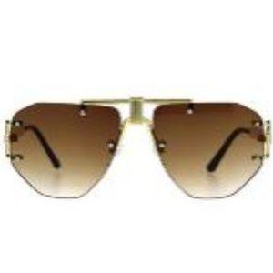 Mens Luxury Rimless Mobster Metal Rim SunGlasses